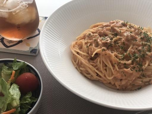 レンジでつくるトマトクリームスパゲッティ